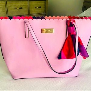Trina Turk Scalloped pink tote with scarf nwot